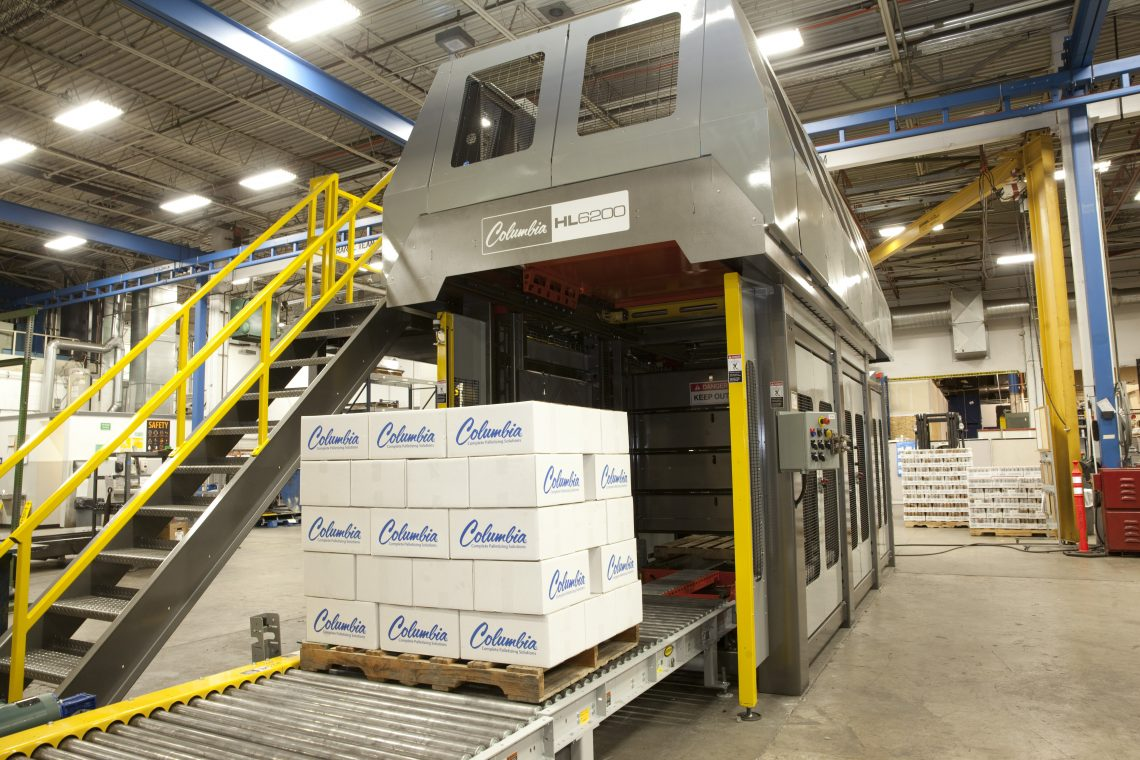 Image of a HL6200 High Level Palletizer's Outfeed.