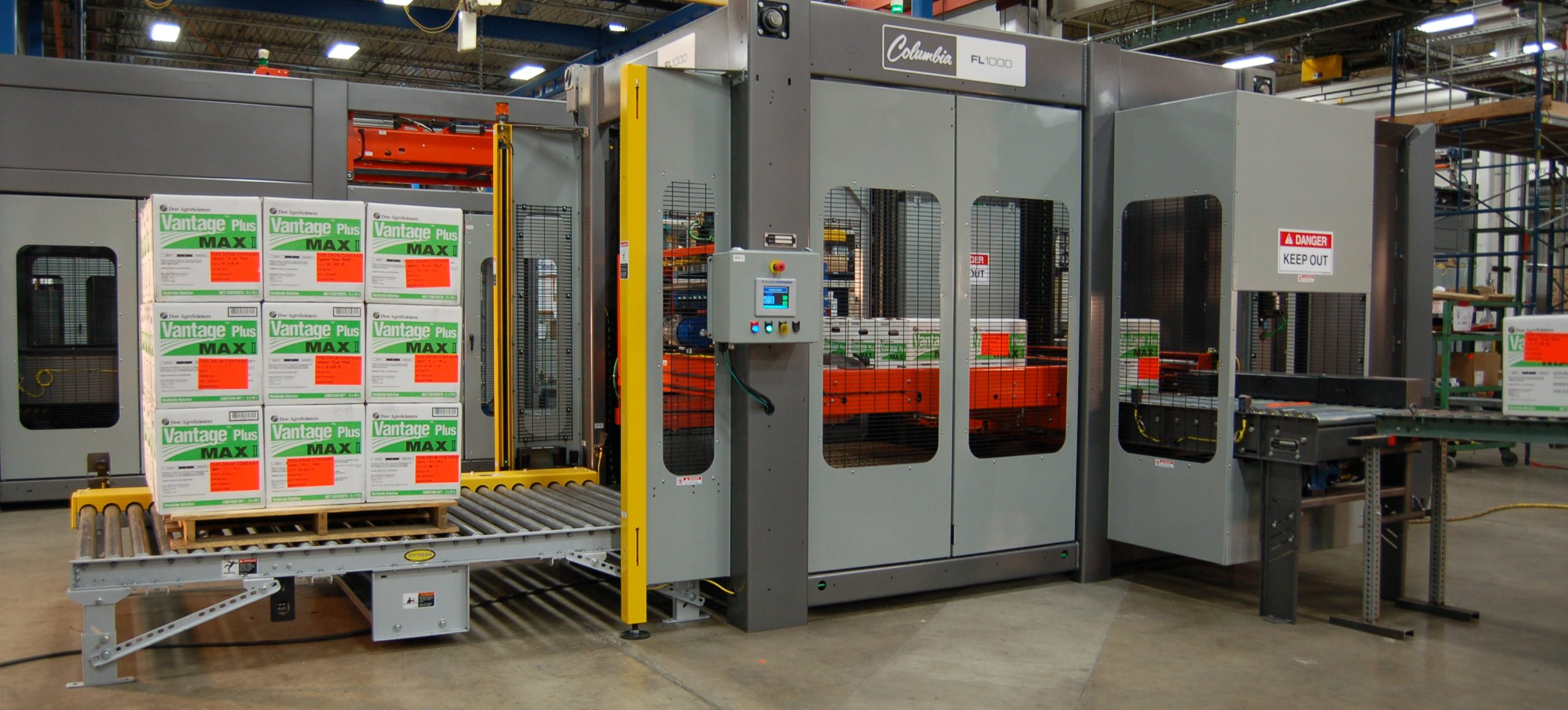 Image of a FL1000 floor level palletizer with stacked cases.