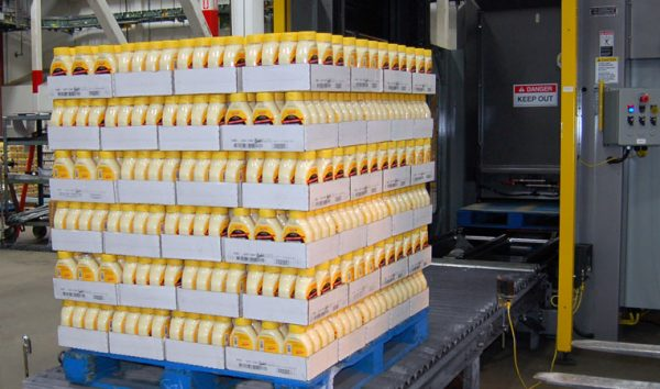 Image of product trays stacked on a pallet.