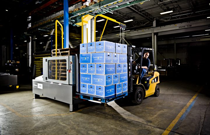 Image of a pallet Load Transfer Station, also referred to as a LTS machine.