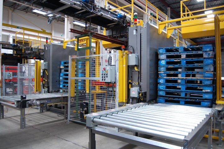 Image of staging fork style pallet dispensers.